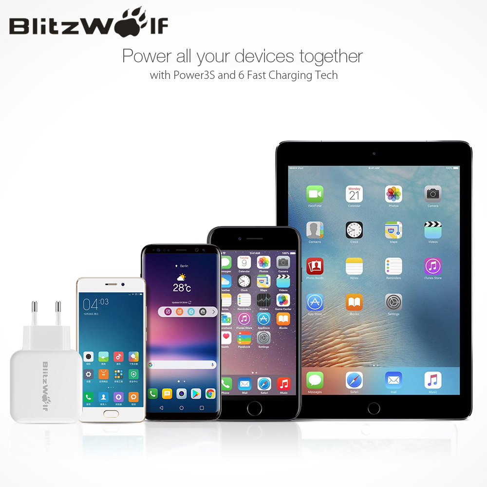 BlitzWolf QC3.0 USB Adapter Travel Wall EU Plug Charger Mobile Phone Fast Charger For iPhone 11 X 8 Plus For Samsung Smartphone