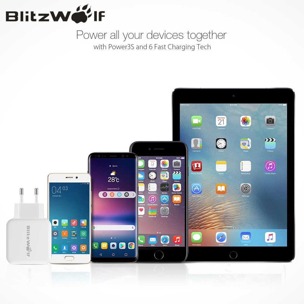 BlitzWolf QC3.0 USB محول السفر الجدار الاتحاد الأوروبي التوصيل شاحن شاحن سريع للهاتف المحمول آيفون 11X8 Plus لسامسونج الهاتف الذكي