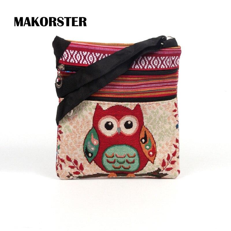 MAKORSTER Owl Pattern Women Handbags shoulder Messenger bags for girls PU female Crossbody bag small handbag SMT051