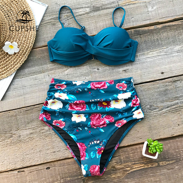 3332b659da CUPSHE Blue Floral High Waist Bikini Sets Women Sexy Moulded Cup Push Up  Two Pieces Swimsuits 2019 Girl Beach Bathing Suit