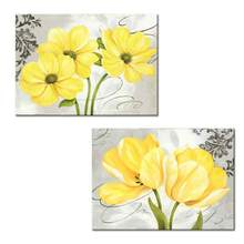 "2 Panels Beautiful Yellow and Gray Grey Blooming Flowers Canvas Wall Art Abstract Floral Prints Home Decor Picture(12""x16""x2pcs)(China)"