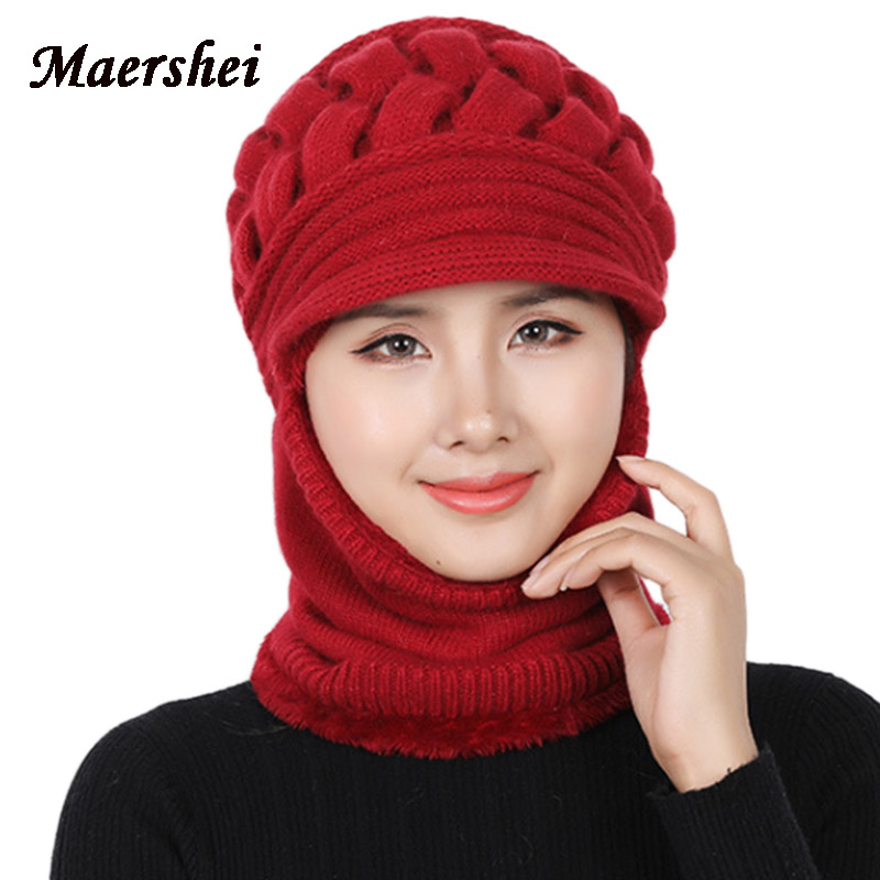 MAERSHEI 2018 New Balaclava Women Knitted Hat Scarf Cap Neck Warmer Mask Winter Hats For Ladies Skullies Beanies Warm Fleece Cap