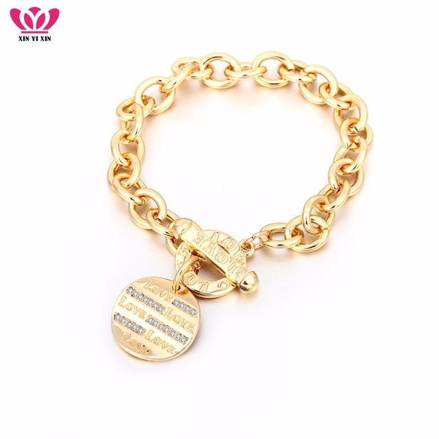 New Gold Round Love Charm Bracelet Rose Gold Big Chain Crystal Bracelets  Toggle Pulseira Women Men 0966af2b3