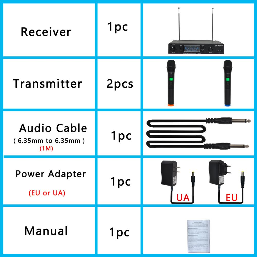 Lomeho LO-V02 RU/BR/US Warehouse 2 Handheld VHF Frequencies Dynamic Capsule 2 channels Wireless Microphone System for Karaoke