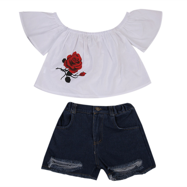 9d509c32a2f Kids Baby Girls Clothes Set 2PCS Off shoulder T-shirt/Tops+Jeans Pants  Outfits Summer Red Rose Blouse Kids Clothing