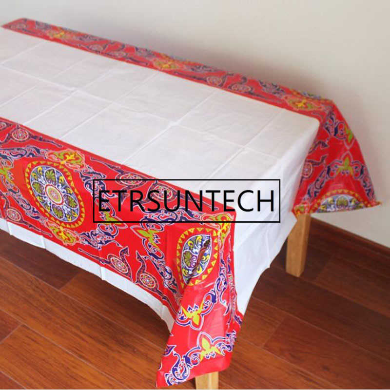 100pcs Creative Disposable Plastic Table Cloth Eid Ramadan Table Cover Tablecloth Waterproof For Moslem Islamism Decoration