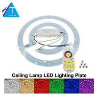 LED Ceiling Lamp Lighting Plate With 2 4G Remote Control Driver RGB Warm White White Set
