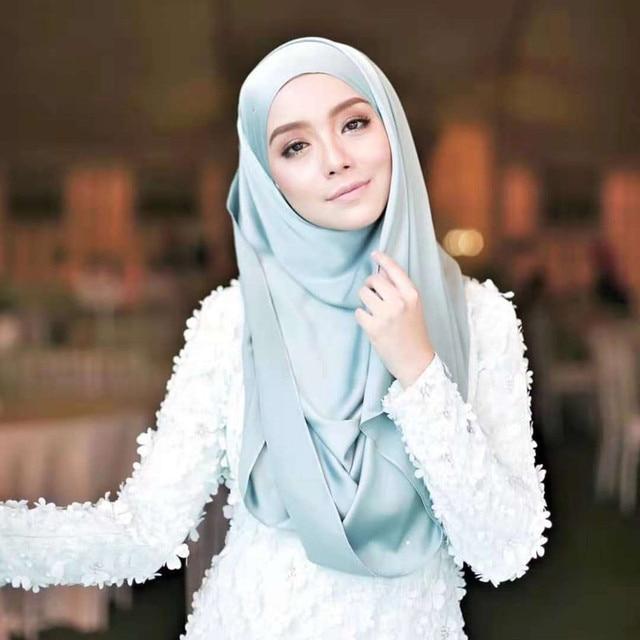 2019 soie foulard musulman instantané Hijab foulard prêt à porter châle foulard Satin Islam foulard femme musulman hijabs foulards