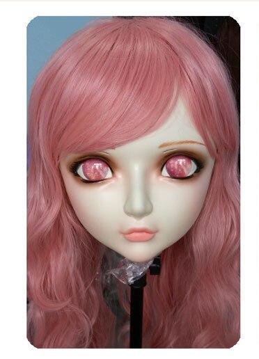 gl034 Boys Costume Accessories Women/girl Sweet Resin Half Head Kigurumi Bjd Mask Cosplay Japanese Anime Lifelike Lolita Mask Crossdressing Sex Doll