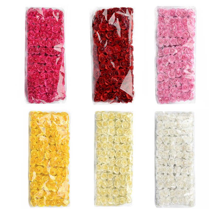 12/72/144pcs Fake Mini Kunstmatige Paper Rose Boeket Voor Bruiloft Decoratie Handwerk DIY Scrapbooking Krans craft