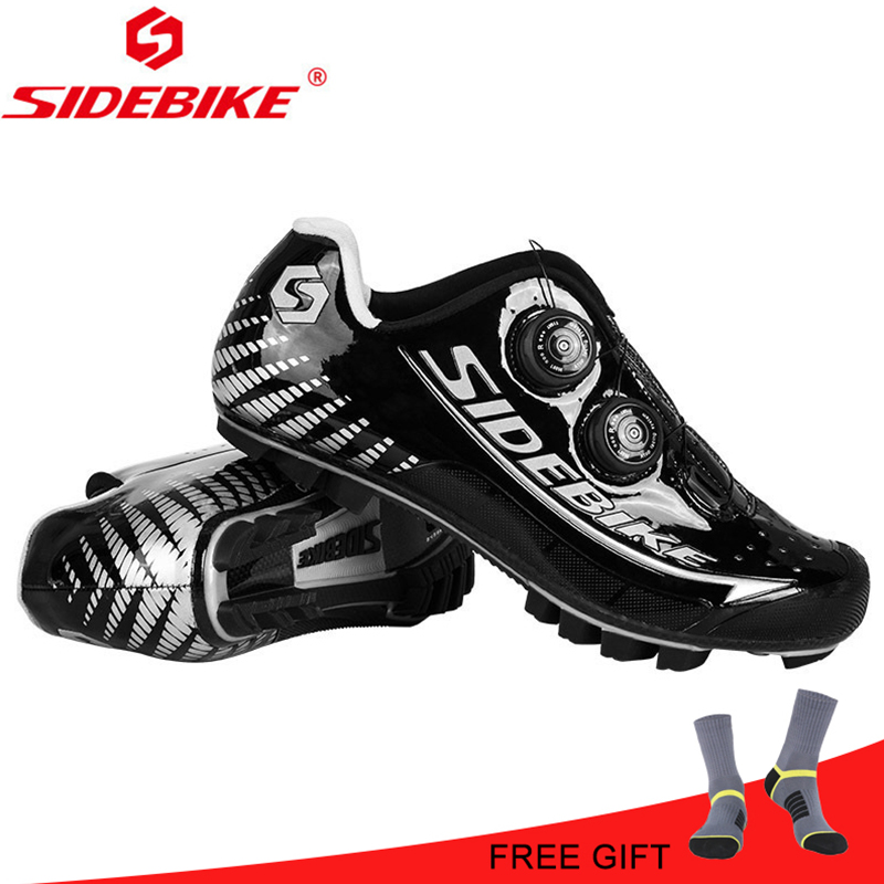 SIDEBIKE MTB cycling shoes Carbon Fiber Ultralight Black Silver Waterproof Pro Men Athletics Mountain Self locking