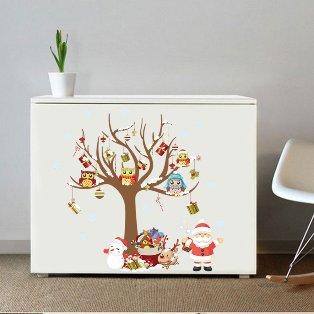 Xmas wall stickers christmas tree santa clause owls stickers xmas wall stickers christmas tree santa clause owls stickers window glass children bedroom decorative wall decal in wall stickers from home garden on amipublicfo Choice Image