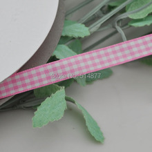 Upick 3 8 10mm Pink One Roll Tartan Plaid Ribbon Bows Appliques Sewing Crafts 50Y
