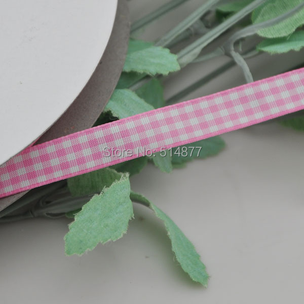 Upick 3 8 10mm Pink One Roll font b Tartan b font Plaid Ribbon Bows Appliques