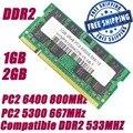 1 ГБ 2 ГБ DDR2 800 800 мГц PC2 6400 DDR2 667 667 мГц PC2 5300 200Pin портативный ноутбук SODIMM памяти рамн + бесплатная доставка
