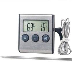 Cyfrowy termometr piekarnika do kuchni do jedzenia gotowanie mięso BBQ termometr z sondą z zegarem temperatura wody mleko narzędzia kuchenne w Wskaźniki temperatury od Dom i ogród na