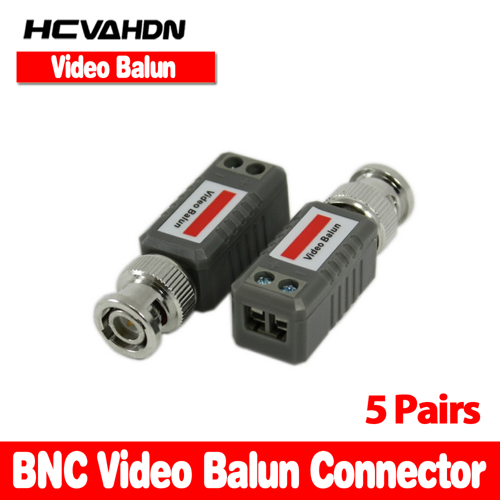 HCVAHDN 10pcs/5 Pairs Free shipping CCTV Passive Video Balun UTP Transivers BNC CAT5 CABLE CONNECTORS ...