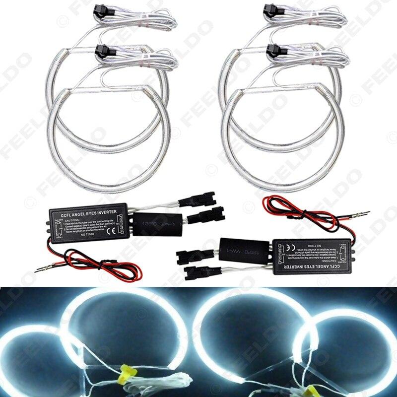 FEELDO 4x131.5mm Blanc Voiture CCFL Halo Anneaux Ange Yeux Phares pour BMW E46, E36, E39, E318A04 Lumière Kits # FD-4170
