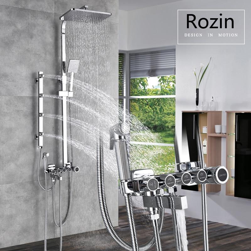 купить Body Massage Jet Chrome Shower Faucet Set Wall Bath Shower Mixer Faucet Bath Shower Spout Bidet Sprayer Head Rain Shower Head недорого
