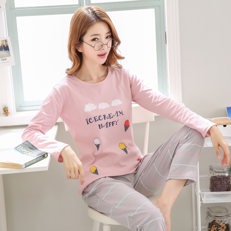 2019 Women Pajamas Sets Autumn Winter New Women Pyjamas Cotton Clothing Long Tops Set Female Pyjamas Sets NightSuit Mother Sleep 88