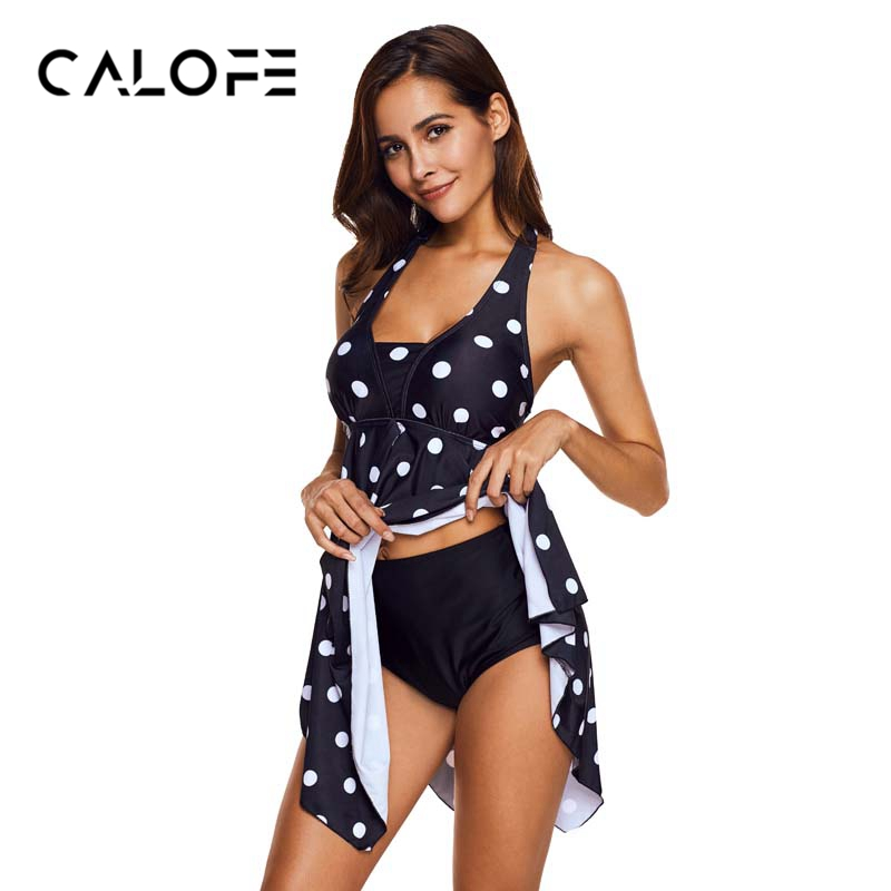 Acheter CALOFE Noir 2018 Bikini Robe D'une Seule Pièce Polka Vêtements De Plage femmes Plus Taille 5XL Jupette Cover Up De Bain Jupe Maillot de Bain Beachwear de swimwear swimming fiable fournisseurs