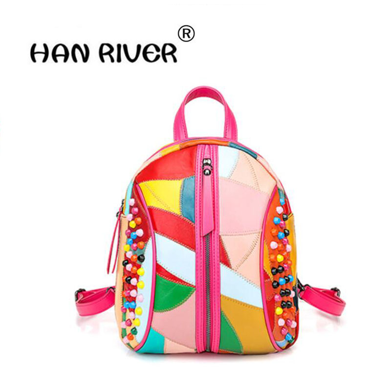 HANRIVER 2018 Spring and summer new fashionable ladies leather shoulder and shoulder leisure and simple soft leather backpackHANRIVER 2018 Spring and summer new fashionable ladies leather shoulder and shoulder leisure and simple soft leather backpack