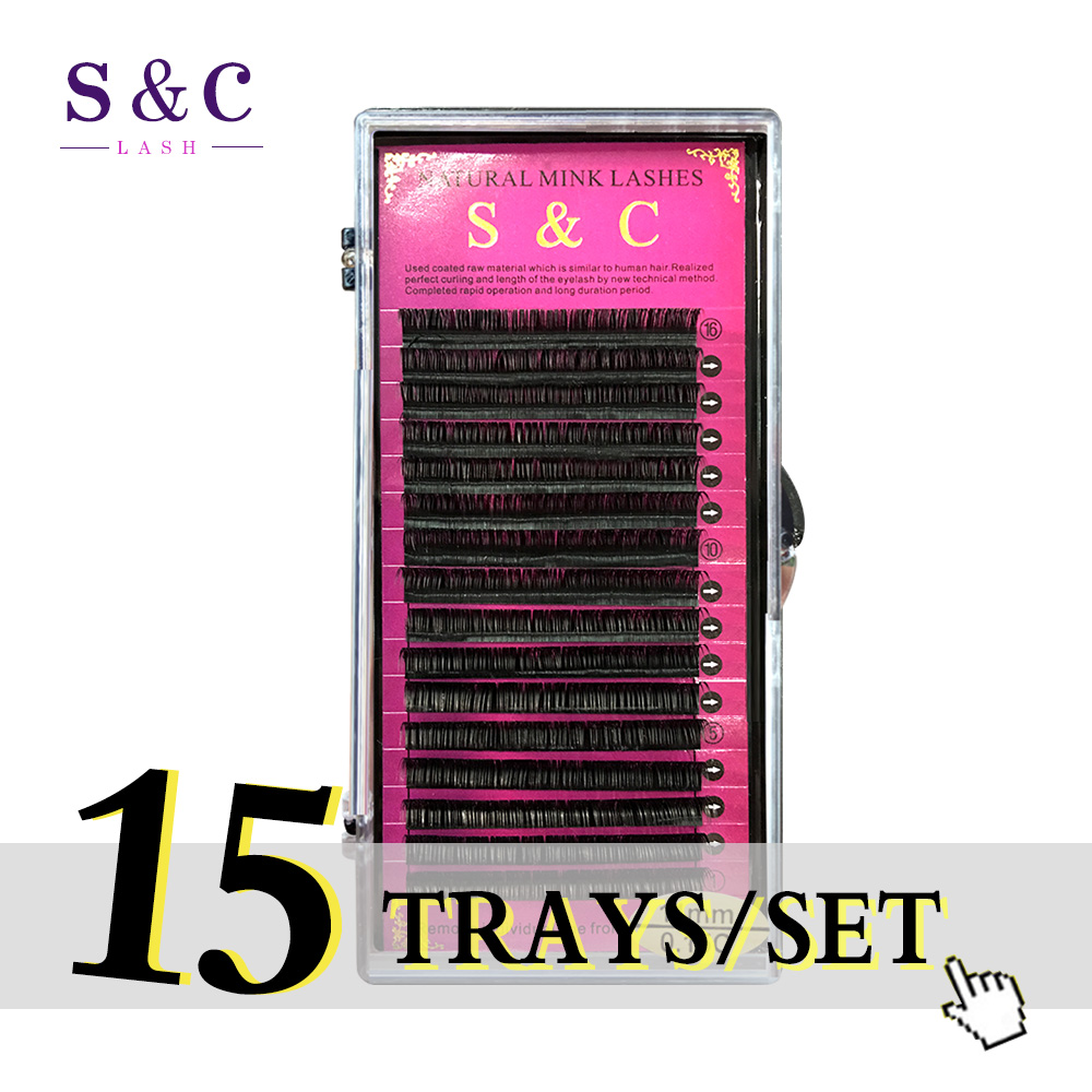 S & C 15 балюстрады кабельные/комплект высококачественной Искусственные ресницы, поддельные наращивания ресниц, отдельные ресницы, природа р...