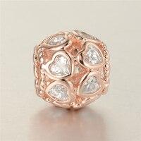925 Prata Esterlina Jóias Rose Gold oval branco cuidado Encantos Bead Para As Mulheres DIY Charm Bracelet & Colar Gargantilha