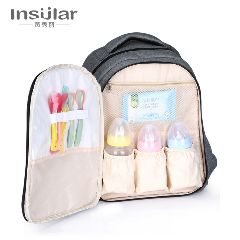 Insular Large-capacity Baby bottle insulation bag mother outside backpack waterproof hig ...