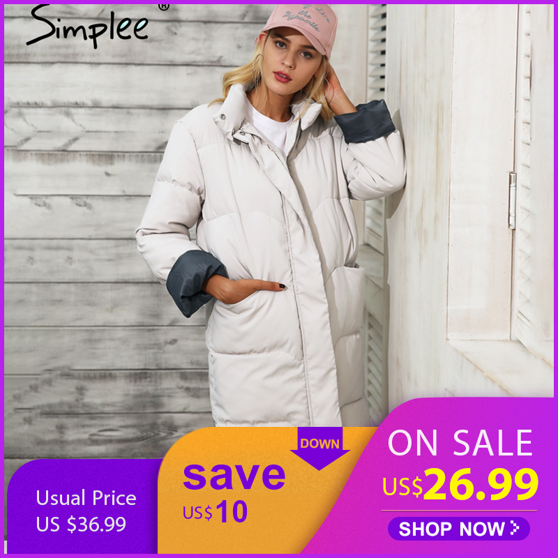 Simplee Cotton padded warm black   parka   Women jacket zipper pocket outerwear   parkas   2018 Autumn winter casual overcoat female