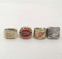 Juego completo (4 unids) 1997 1998 2002 2008 DETROIT RED WINGS NHL Stanley Cup Anillo de Campeón