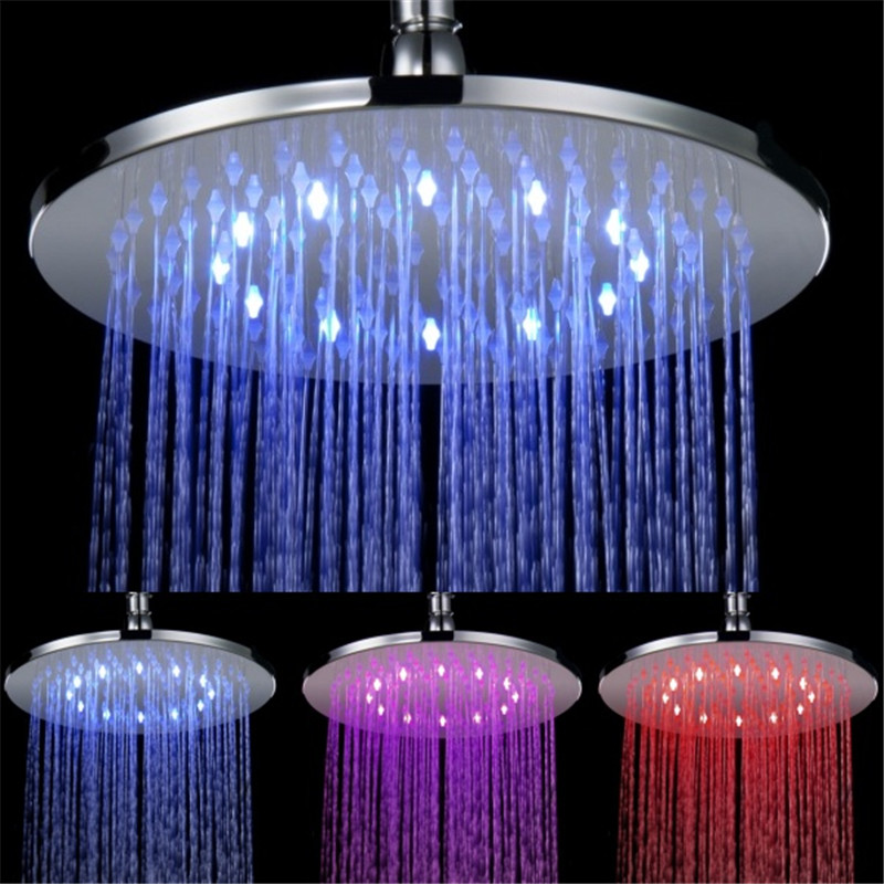250mm brass Round material 10 inch chrome plated LED bathroom rainfall shower Head LD8030-B6 promotion sale free shipping 10 inch led shower head with brass chrome 250mm rainbow colours as time changes light 20004