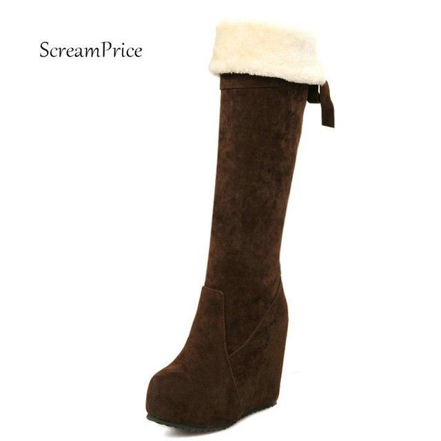 Hohe Ferse Schuhe Winter Neue Faux wildleder pelz Schnee stiefel frauen keil heels über das knie stiefel