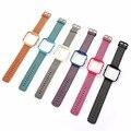 Esportes Tecido de Nylon Watch Band + Frame Colorido do Metal 2 em 1 Assista Case Banda para Fitbit Pulseira Chama Cinta I161.