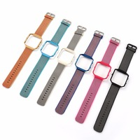 Sports Woven Nylon Watch Band Colorful Metal Frame 2 In 1 Watch Case Band For Fitbit