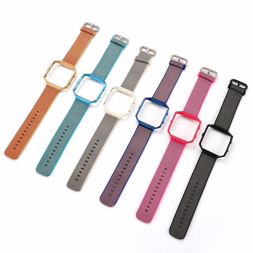 все цены на Sports Woven Nylon 23mm Watch Band+Colorful Metal Frame 2 in 1 Watch Case Band for Fitbit Blaze Bracelet Strap I161. онлайн