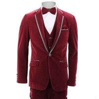 Бархатный винно красный мужской костюм жениха Свадебные смокинги 3 шт. (куртка + брюки + жилет) Официальная вечерняя одежда на заказ