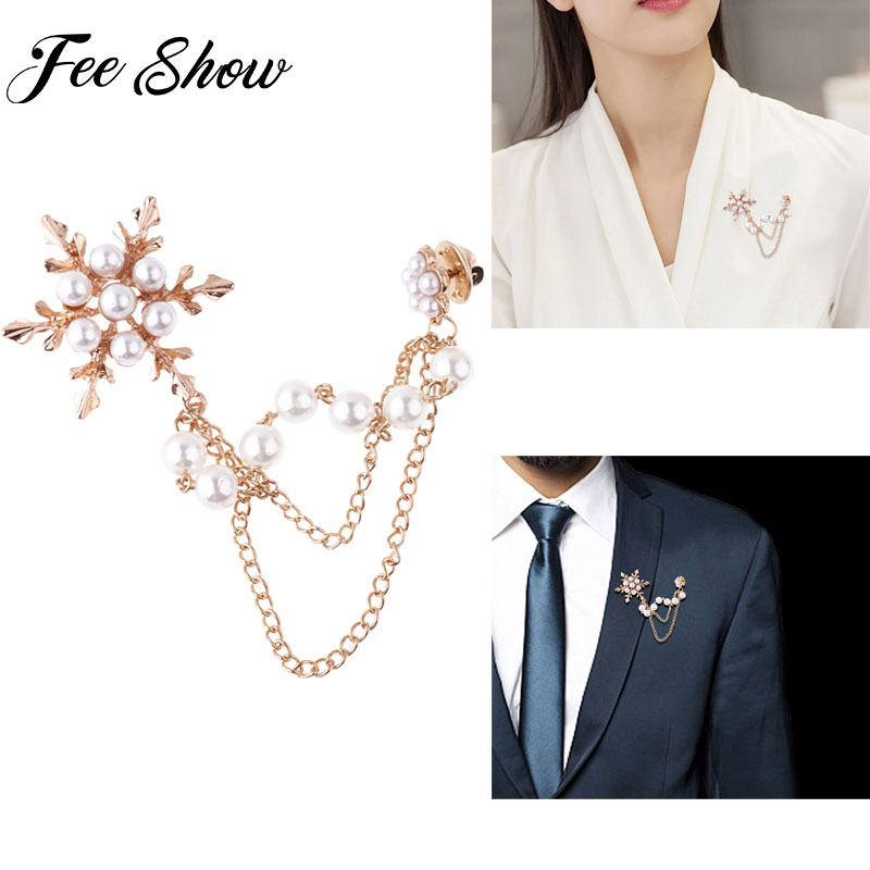 Women Vintage Large Brooches Lady Snowflake Imitation Pearls Rhinestones Crystal Wedding Brooch Pin Blouse Shirt Collar Jewelry