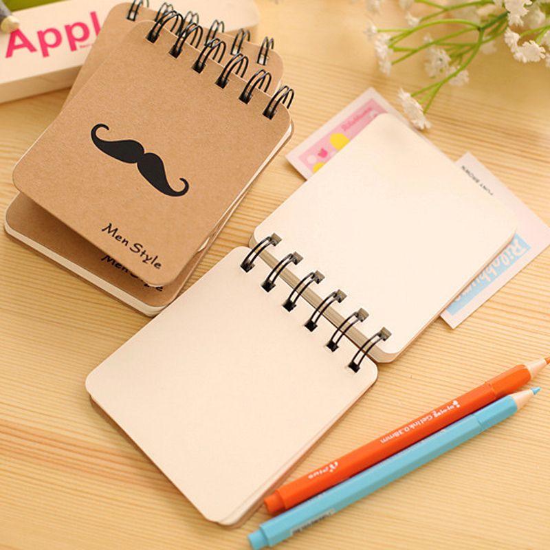 1PCS Kawaii MR Beard Cowhide Paper Notebook Mini Blank Coil Portable Notepad Stationery Student Gift Office&School Supplies