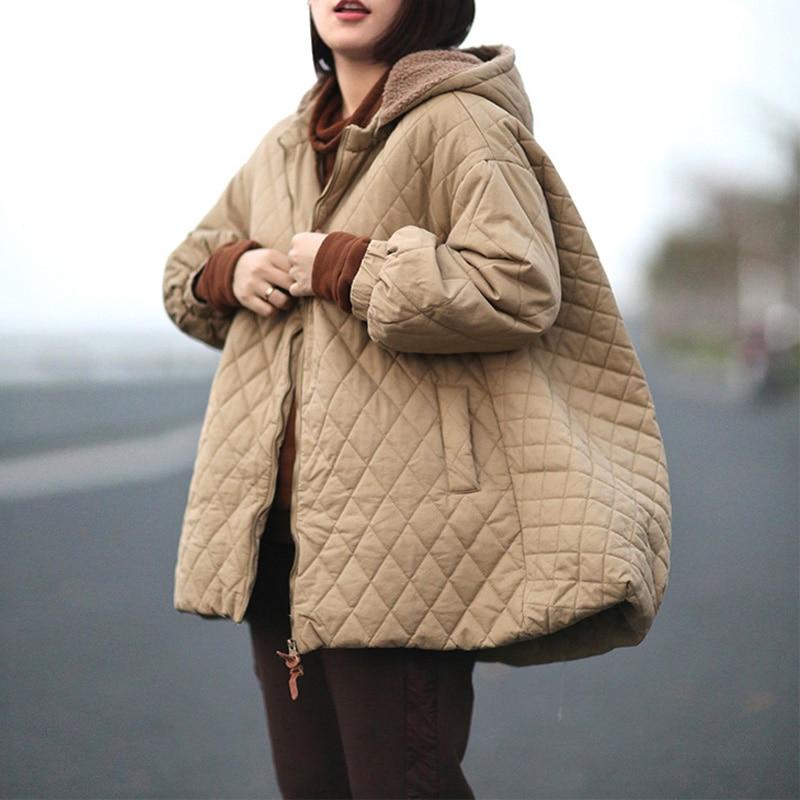 Johnature Women A-Line Parkas Hooded Loose Coats 2019 Winter New Zipper Long Sleeve Warm Plus Size Women Cloths Solid Color Coat