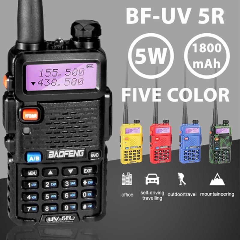 De Baofeng UV-5R profesional Walkie Talkie 5 W UHFVHF portátil UV5R dos manera CB Radio UV 5R caza transceptor HF radio de jamón