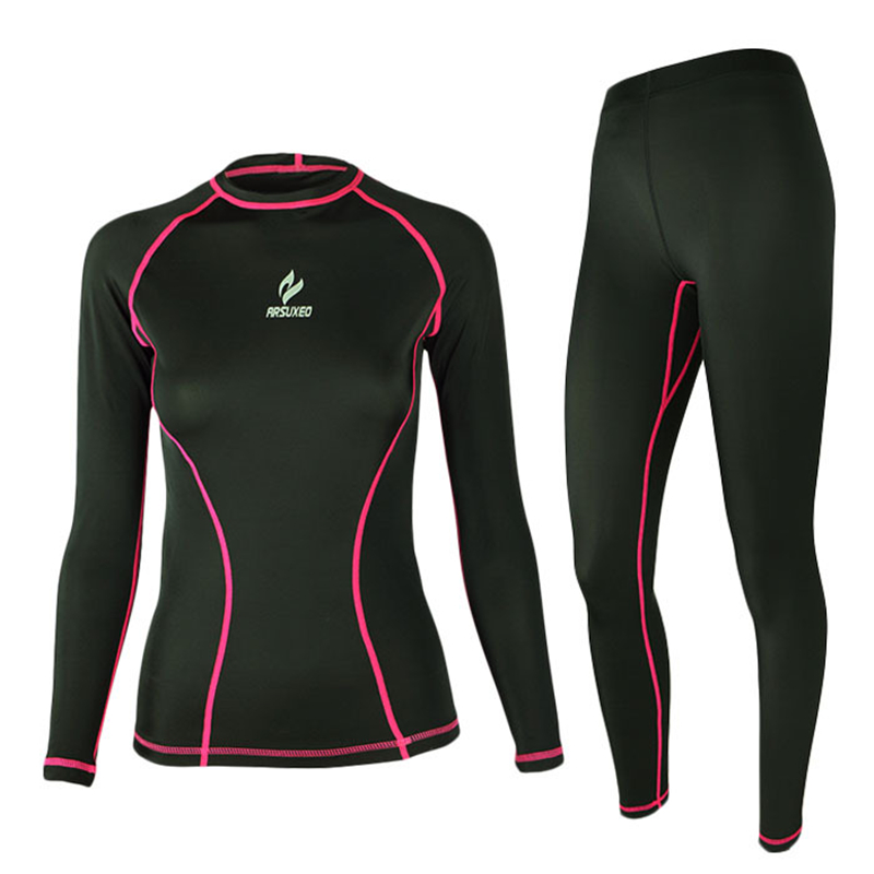 ФОТО Brand Female Outdoor Sports Running Sets  Tight Absorbent Quick-drying Cycling Basketball Fitness Elastic Long Sleeve Jersey Set