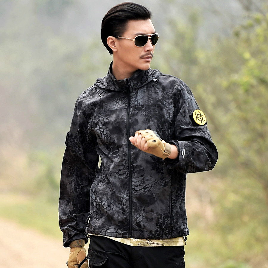 Autumn Flight Camouflage Jacket Men Black Zipper waterproof Men Jacket Pocket Bomber Male Jackets Military Button Casual Large