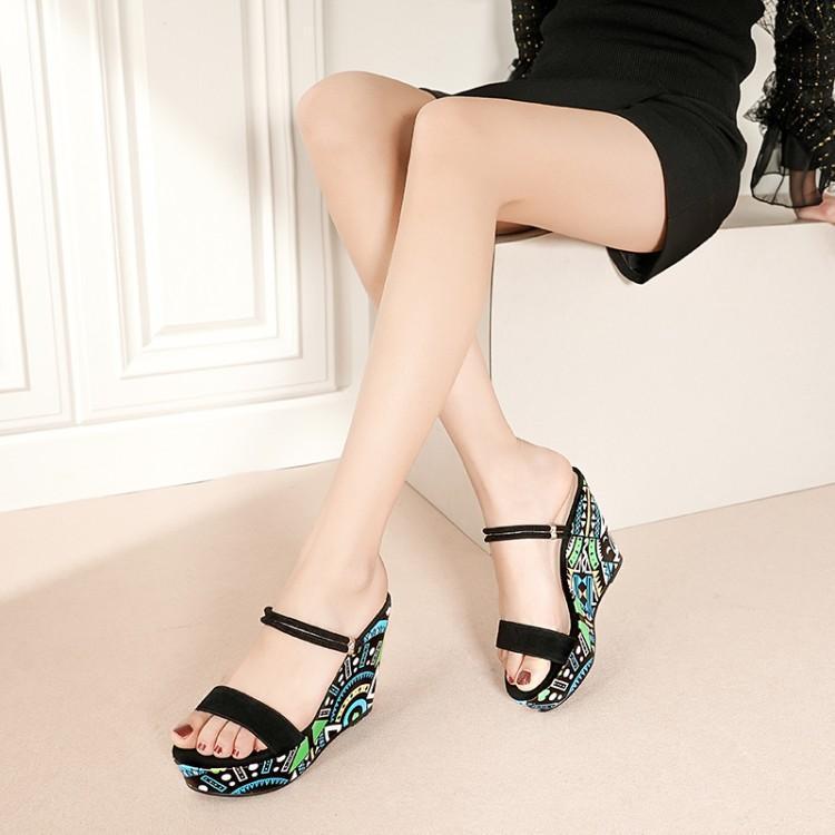 De Zapatos Plataforma Graffiti Las Mujer La Colorida Impresión Peep Bohemia Hebilla Cuñas Mujeres Una Toe Sandalias Pista As Pics R5wqWBPWO