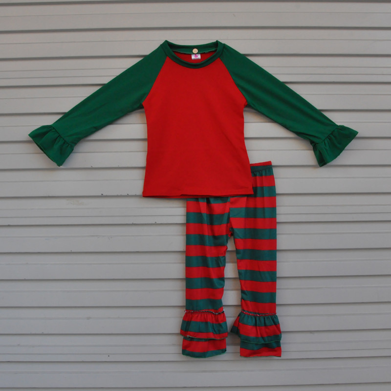 New Fashion Knitted Cotton Newborn Baby Christmas Pajamas Top and Pant Boutique Girl Outfits Clothing Sets C008