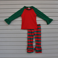 New Fashion Knitted Cotton Newborn Baby Christmas Pajamas Top And Pant Boutique Girl Outfits Clothing Sets