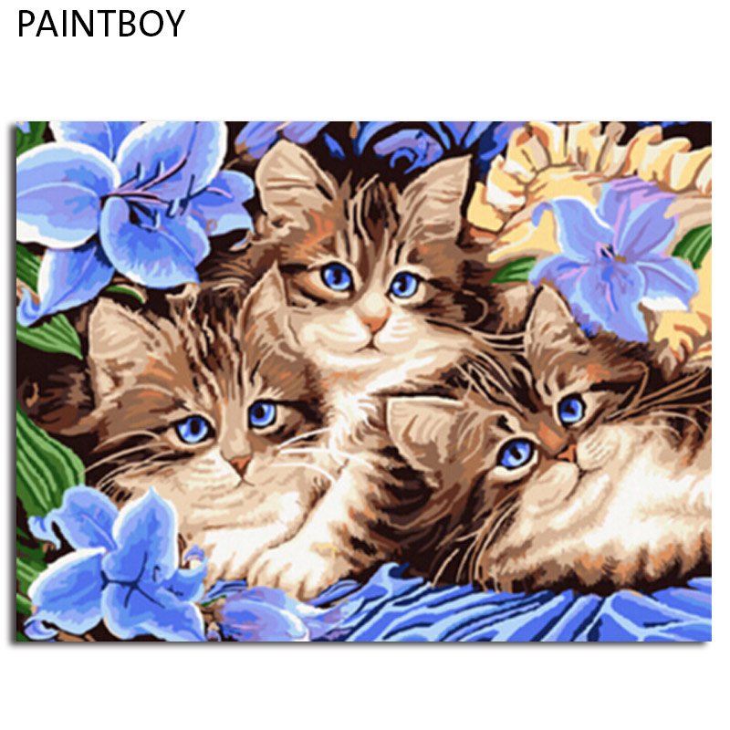PAINTBOY Framed Picture Painting By Numbers Animal Cat DIY Oil Painting On Canvas Home Decor For Living Room 40*50cm GX3071