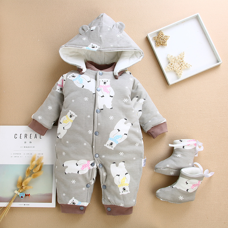 58998b508 Winter Overalls for Girls Boys Jumpsuit Children's Autumn Overalls Baby  Hooded Romper 0-15M Newborn Infants Babies Onesies | Bella's Baby World