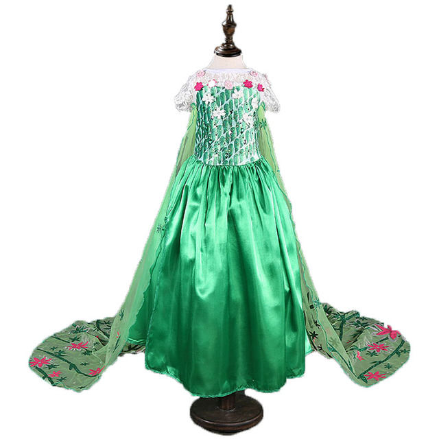New summer green elsa costumes Girls Cosplay party Dresses Princess anna dress vestidos de festa meninas for children