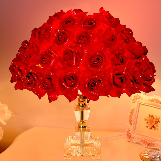 Colorful Roses Flowers Desk Lamp Marriage Room Bedroom Beautiful Romance Decorative Table Lamp